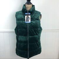 ZeroXposur Evergreen Dark Green Velvet Puffer Vest Women Large NWT MSRP $70.00