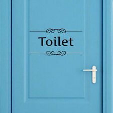 Toilet Door Sign Removable Vintage Wall Art Sticker Bathroom Decor Vinyl Decal