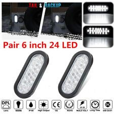 "2pcs White 24 LED 6"" Oval Trailer Truck Stop Turn Backup Tail Light Flush Mount"