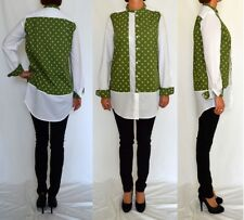 Unique white green printed cotton comfortable shirt top blouseSize 12