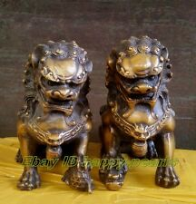 Pair Bronze Chinese Lion Foo Dog Statue Figure Sculpture 16cm