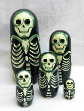 Skeleton - Hand Painted Goth Russian Doll Set - 5 Dolls - BNWT