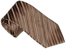 NEW STEFANO RICCI SATIN TAUPE TONES BLACK & PINK FANCY STRIPE 100% SILK TIE