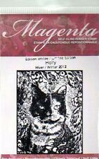 New Cling MAGENTA Rubber Stamp Cat of the Season Holly 2013 small  free USA ship