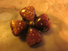 4 Leaf Clover Pin Pretty Victorian Goldstone Antique Lucky