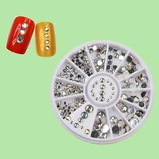 1 Wheel of 3D Glitter Rhinestones 5 Size Nail Art Decor Nair Accessories