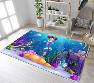 Underwater World Pink Hair Mermaid Area Rugs Kids Bedroom Living Room Floor Mat