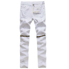 Mens White Red Skinny Slim Biker Pants Knee Zipper Distressed Ripped Denim Jeans
