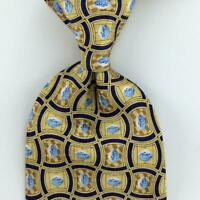 PFIZER TIE VIAGRA For Men Pills Tablets GOLD BLUE GEOMETRIC Silk Necktie New L3