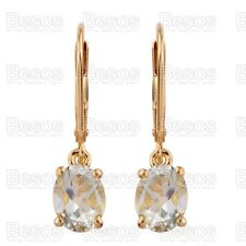 2ct GREEN AMETHYST dropper earrings 14K Gold solid Sterling Silver 925 UK GIFT