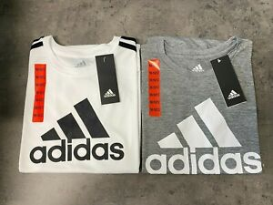 NEW adidas Boys' S,M,L,XL Youth Performance Tees WHITE, GRAY T-shirt
