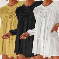 Women Semi Sheer Lace Sexy Ruffle Top Long Sleeve Club Party T Shirt Blouse Size
