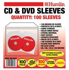 100 Humlin High Quality 100 Micron clear plastic CD DVD sleeves Side STITCH