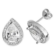 Sterling Silver 925 & Pear Cut Cz Cluster Stud Earrings Rhodium Plated 15x10mm