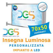 Insegna Luminosa Bifacciale 70x50 centimetri personalizzata con impianto LED