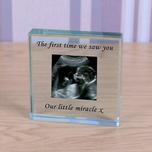 Personalised Glass Block Token Photo with message Baby Scan Wedding Birthday