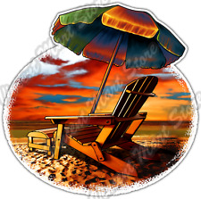 Beach Chair Vacation Summer Sun Paradise Car Bumper Vinyl Sticker Decal 4.6""