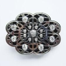 Black Enamel Clear Rhinestones Western Flower Metal Belt Buckle