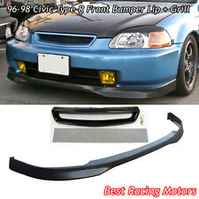 TR Style Front Bumper Lip (PU) + TR Style Grill (Mesh) Fit 96-98 Civic 4dr
