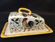 PY UCAGCO Butter Dish & Lid Early Provincial ROOSTER & ROSES Cheese Wedge