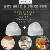 Nut Milk Bag -  2 (Two) Nylon 12x12 Premium Commercial Grade Quality Reusable