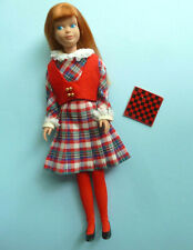 """Vintage 1964 Titian-Hair Skipper in 1966 """"Rainy Day Checkers"""" Outfit #1928 • Nm"""
