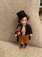 "Darling Antique Bisque Head 3.5"" German Gentleman Dollhouse Doll Glass Eyes"