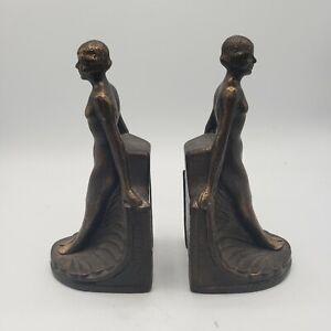Toscano Elyse Art Deco Female Statue Figure Bookend Pair- Vintage Cast Iron