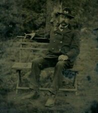 Civil War Union Soldier Tintype Photo Posing Sitting Portrait