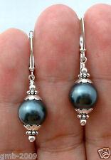 12mm Tahitian Black Peacock Sea Shell Pearl Silver Leverback Earrings