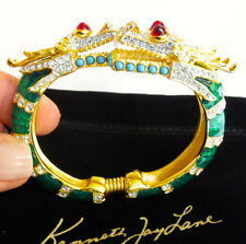 Kenneth Jay Lane Green Enamel Dragon w/Swarovski Crystals Cuff Bracelet  NEW!