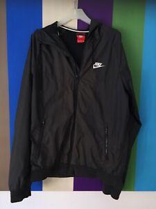 Nike Mens Jacket S Black Zip Jumper Active Sport Hooded Windbreaker Coat Gym Run