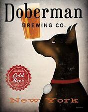 Doberman Pinscher Brewing Co New York by Ryan Fowler 14x11 Art Print Beer Dogs