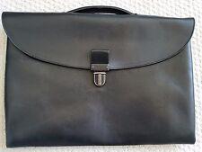 Authentic BOTTEGA VENETA All Leather Brief Case Business Bag Black 15 x 11 x 4