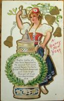 Beer Stein & Woman 1910 Embossed, Color Litho New Year Postcard