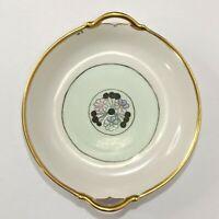 Vintage Art Deco Trinket Dish Hand Painted Floral  Signed Handles Gilt EUC