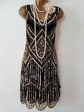 GATSBYLADY LONDON 20'S STYLE FLAPPER CHARLESTON DECO SEQUIN/BEAD DRESS SIZE UK18