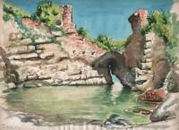SORRENTO CLIFF CASTLE RUINS ITALY Watercolour Painting c1955 COASTLINE SEASCAPE