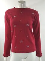 Cherokee Girls Sweatshirt Size XL 14 / 16 Red Rhinestone Holiday Christmas Top