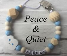 Personalised Dummy Clip💙Wooden🖤Dummy Chain💙blue🖤metal💙Boy🖤Cloud💙 #MWP