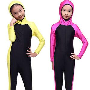 Kids Girls Muslim Swimwear Full Cover Swimsuit Islamic Burkini Modest Beachwear