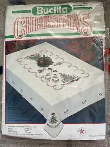 BUCILLA Stamped Cross-Stitch KIT Holiday Tree CHRISTMAS Oval Tablecloth 60x90