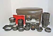 Leicaflex SL Film Camera With 4 Lenses Extension Tube Hoodsl Fitted Leaica Bag