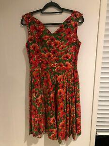 Bernie Dexter Dress Red Poppy Print Retro/50's/Rockabilly Size XL