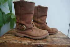 Timberland Nellie Dark Brown Pull on Fur lined Calf Boots Size 6