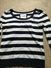 Womens Abercrombie And Fitch New York Striped Blue White Jumper Top Large