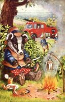 Animal Fantasy Racey Helps Interrupted Feat Fire Truck Medici Pk 363 Postcard
