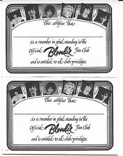 2 Blondie Vintage 1979 Official Fan Club Membership Certificates Debbie Harry