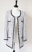 Chanelesque Collarless Jacket Black / White Boucle 100% Wool AMAROTICO - UK 10