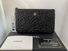 NWT 20P Chanel Camellia Small O-Case Pouch Holder Wallet Black Caviar with Gold